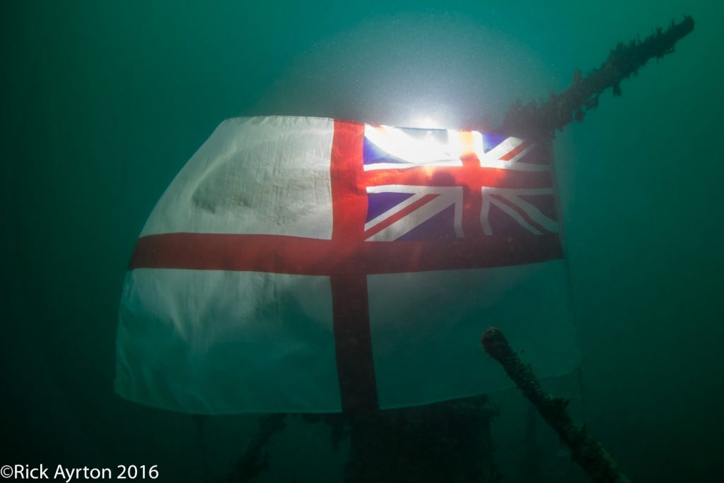 white ensign on HMS Boadicea